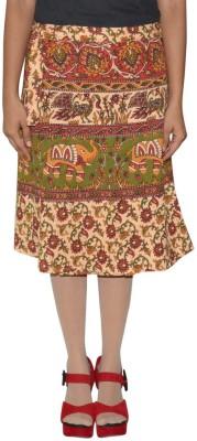 Shreeka Printed Women's Wrap Around Brown, Green Skirt