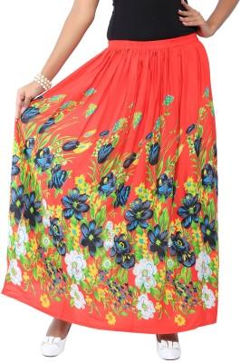 Liba Printed Women's Regular Red Skirt