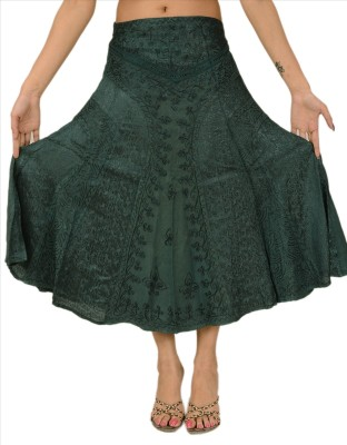 Skirts & Scarves Embroidered Women's A-line Green Skirt