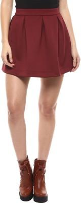 Martini Solid Women's Pleated Maroon Skirt