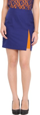 Pera Doce Solid Women's A-line Blue Skirt