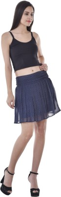 Colors Couture Polka Print Women's Pleated Dark Blue Skirt