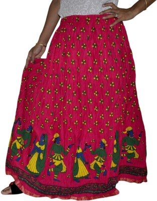 Ooltha Chashma Printed Women's Broomstick Pink Skirt