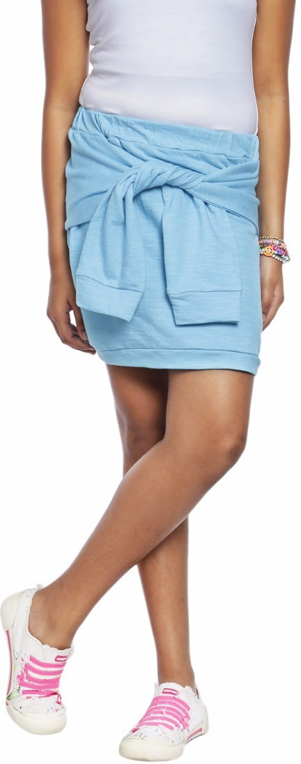 Abstract Mood Solid Girls A-line Blue Skirt