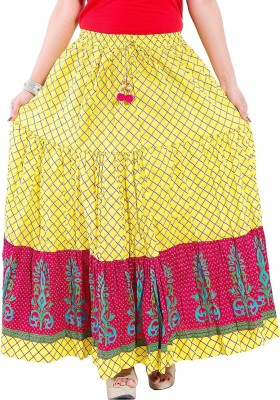 Decot Paradise Printed Women's Regular Yellow Skirt
