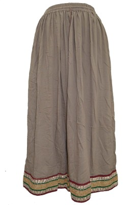Pms Fashions Solid Women's Regular Brown Skirt