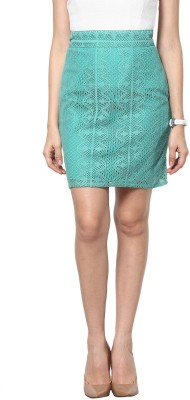 Abiti Bella Self Design Women's Pencil Light Green Skirt