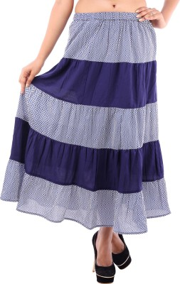 Goodwill Impex Printed Women's A-line Blue Skirt