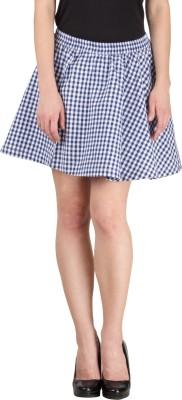 Hypernation Checkered Women's Pleated Blue, White Skirt