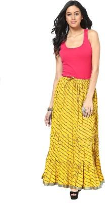 Factorywala Printed Women,s Wrap Around Yellow Skirt