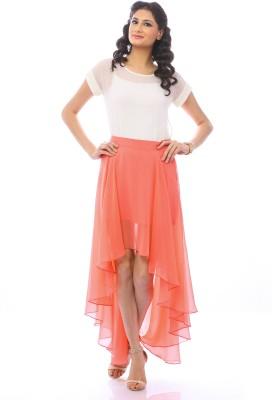Pinwheel Solid Women's Asymetric Orange Skirt