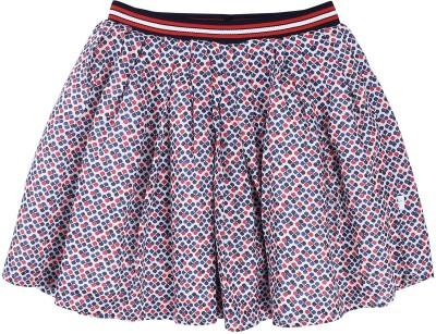 ShopperTree Self Design Girl's Pleated Multicolor Skirt