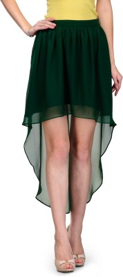 Xoxo Solid Women,s Asymetric Green Skirt