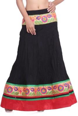 Geroo Embroidered Women,s Regular Black Skirt