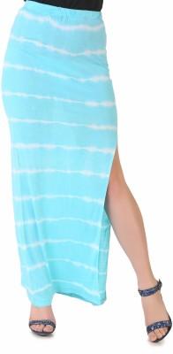 NOD Printed Women's Straight Light Blue, White Skirt