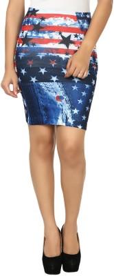 N-Gal Printed Women's Pencil Blue, Red Skirt