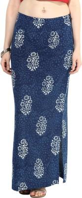 Indibox Printed Women's Straight Blue Skirt