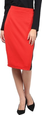 Martini Solid Women's Pencil Red Skirt