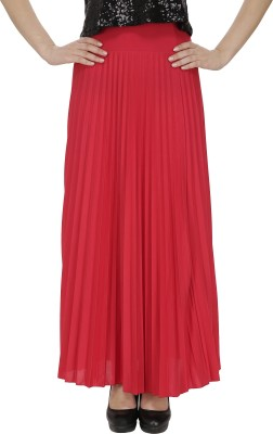 FASHMODE Solid Women's Pleated Red Skirt