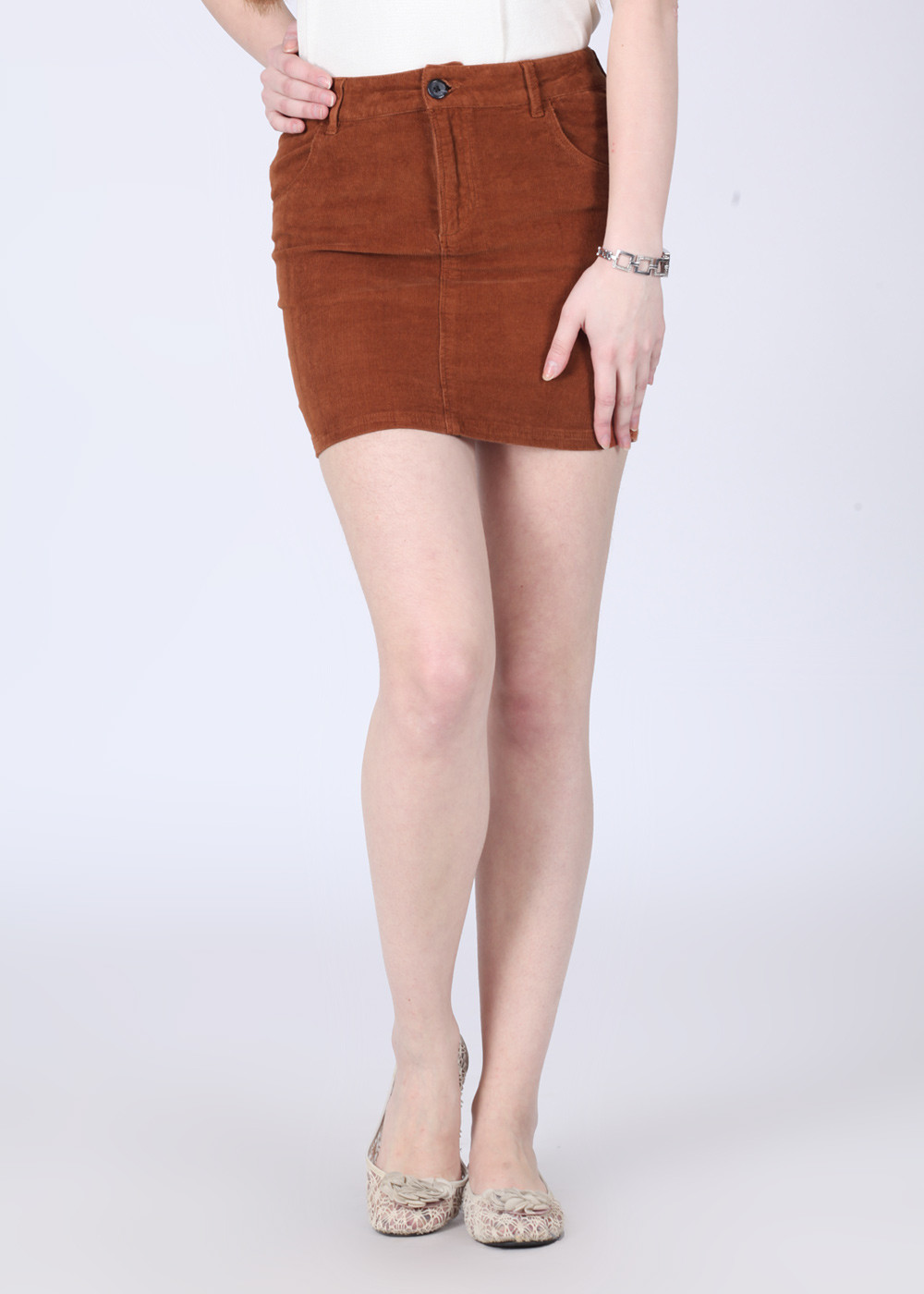 Arrow Striped Womens Tube Brown Skirt