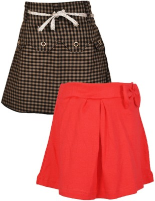 Gkidz Checkered Girl's A-line Grey, Pink Skirt