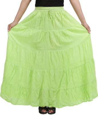 BigCart Printed Women's A-line Green Skirt