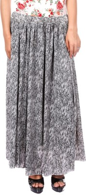Gwyn Lingerie Printed Women's A-line Black Skirt
