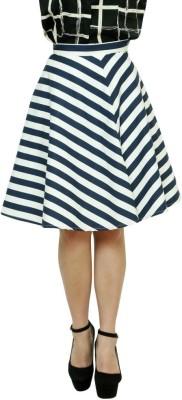 99Hunts Striped Women's A-line Black, White Skirt