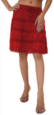 Skirts & Scarves Embroidered Women's A-line Red Skirt