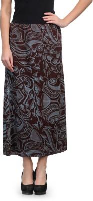 Kiosha Printed Women's A-line Brown, Blue Skirt