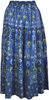 Shopatplaces Printed Women's Broomstick Blue Skirt