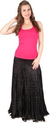 Grand Store Solid Women's Gathered Black Skirt