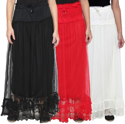 NumBrave Self Design Women's Layered Black, Red, White Skirt