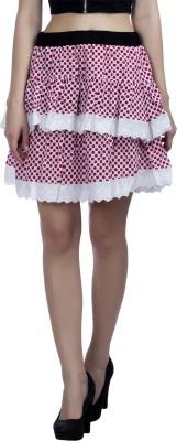 Peptrends Polka Print Women's Layered Red Skirt