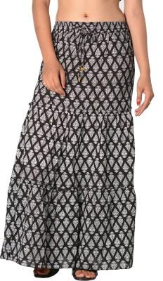 SBS Printed Women's Tiered Black Skirt