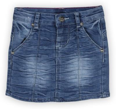 Lilliput Solid Girl's Regular Blue Skirt