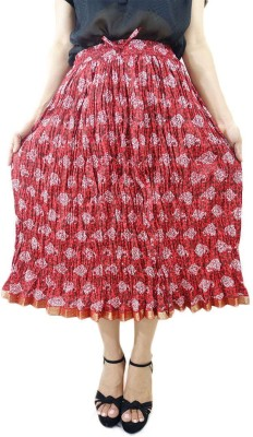 ShopMore Printed Women's Regular Red Skirt