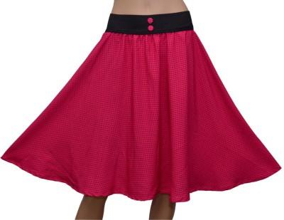 GraceDiva Printed Womens Gathered Pink, Black Skirt