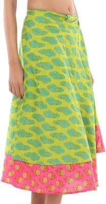 Rajrang Printed Women's Wrap Around Green, Pink Skirt at flipkart