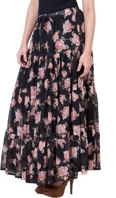 14forty Printed Women's Regular Black Skirt
