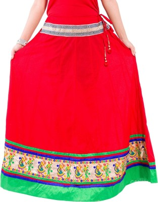 Decot Paradise Printed Women's Regular Red Skirt at flipkart