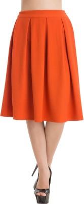 Kazo Solid Women's Regular Orange Skirt