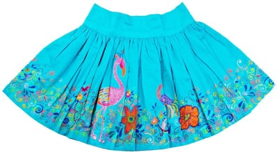 Oye Floral Print Girl's Regular Blue Skirt