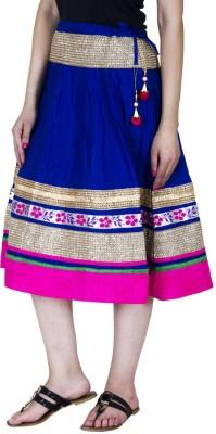 Ooltah Chashma Embellished Women's A-line Blue, Pink Skirt