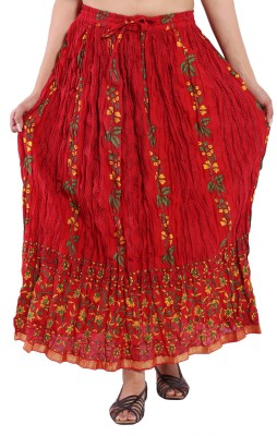 Decot Paradise Floral Print Women's Regular Red Skirt
