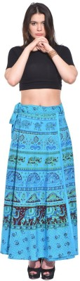 Saffron Craft Animal Print Women's Wrap Around Blue Skirt