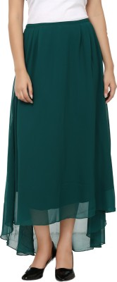 Tops and Tunics Solid Women's Asymetric Dark Green Skirt