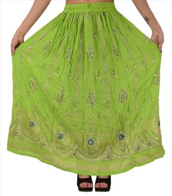 Skirts & Scarves Embellished Women's Broomstick Green Skirt