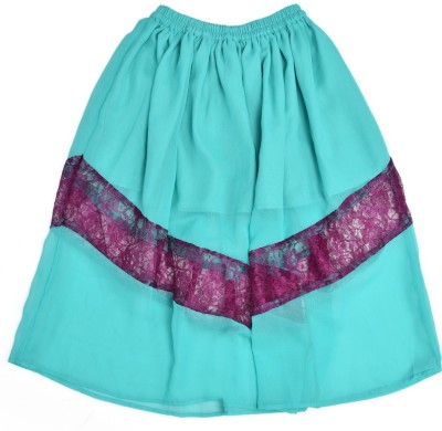 Yufta Solid Girl,s Gathered Blue Skirt