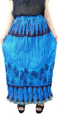 ShopMore Printed Women's Regular Blue Skirt